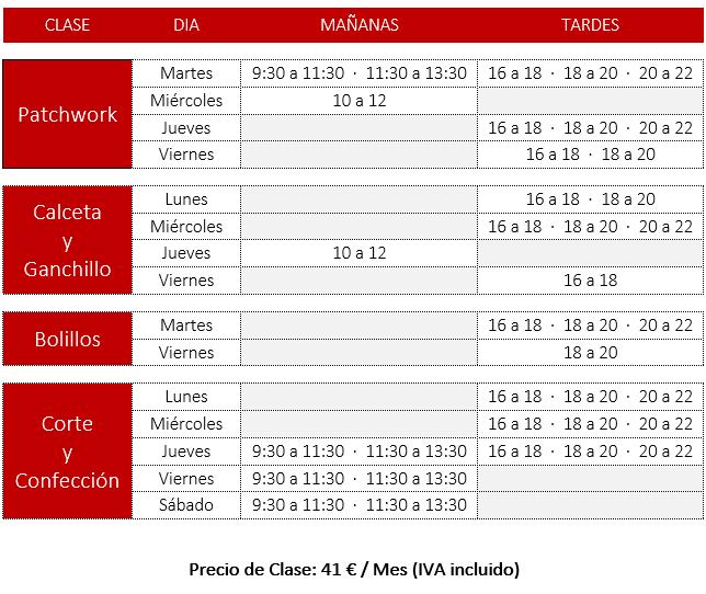 Clases de Patchwork, Calceta y Ganchilllo, Bolillos, Corte y Confeccion